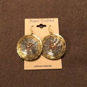 NWT round tricolored metal earrings